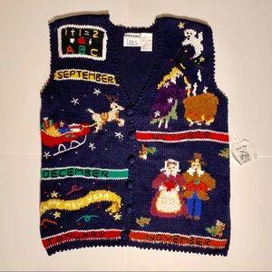 Vintage Erika Hand Knit Seasonable Cardigan Vest